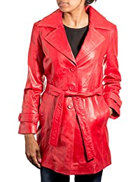 a65f9917fa629 Ladies Women Red Classic 3 4 Trench Leather Coat With Belt Tie and Back