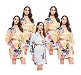 Set of 5 Hen Party Getting Ready Robes, OSFM, Wedding Dressing Gowns for Bride/Bridesmaids, 4 Honey Gold & 1 White Satin Peacock Kimono Robes