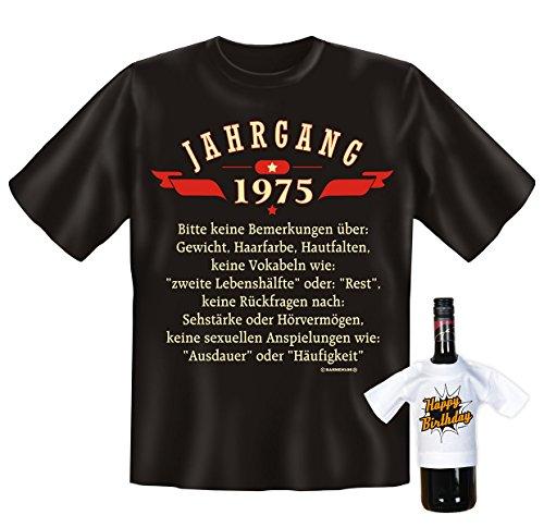 """orginelles und witziges T-shirt Set zum Thema : 40. Jahre Geburtstag Farbe: schwarz """"JAHRGANG 1975.."""" Schwarz"""