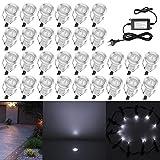 QACA 30X LED Einbauleuchten Bodeneinbaustrahler Außenlampe Wasserdicht IP67 0.4W 18x26mm eckig Treppenstufen Garten Terrasse Kaltes Weiß