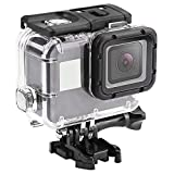 Boîtier étanche pour GoPro Hero 7 Silver/White,leegoal 60M sous-Marine Cas de plongée avec Support de dégagement Rapide & Thumbscrew Accessoires pour GoPro Hero 7 Blanc/Argent caméra d'action