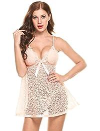 Avidlove Mujer Pijamas sin Mangas Estampado V Cuello sin Espalda Encaje