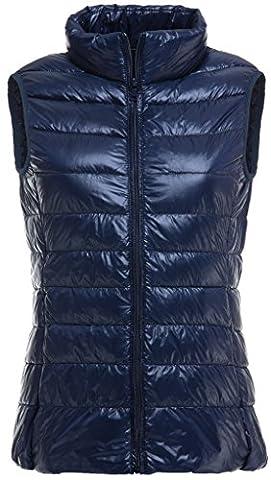 Sawadikaa Damen Gef¨¹ttert Ultra Leicht Verpackbar Kissen Puffer Daunen Jacke Weste Bodywarmer Marineblau Small