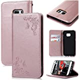 VertTek Coque Samsung Galaxy S7 Edge, Etui Samsung S7 Edge Motif Fleur Étui à Rabat Magnétique Cas Flip Cover Wallet Case Fonction Support Housse Fente Carte Couverture Interne Silicone Souple Coque de Protection Portefeuille Anti Rayures Design Floral avec Lanyard Strap - Or Rose