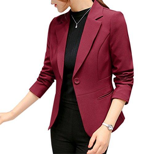 JOTHIN Damen Herbst Business Blazer Eleganter Rosa Kurzjacke Plain Langarm Knopf Outwear Moderne (Rot, L) (Rosa Nadelstreifen-blazer)