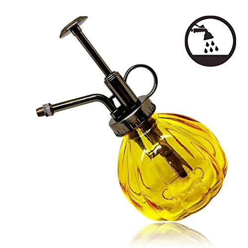 Wasser Spray Flasche Vintage Kürbis Stil Deko Glas Pflanzen Wasser Zerstäuber kann Topf | Pflanze Mister mit Top Pumpe für Innen Topfpflanzen Terrarien Blumen [gelb] Hydrokultur-wasser-pumpe
