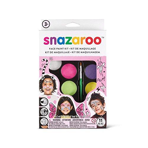 Snazaroo Schminkset für Mädchen,Schminkpalette mit Pinsel, Schwämmchen und Anleitung, 8 Farben