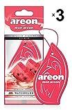 Areon Mon Ambientador Coche Sandía Rojo Olor Fruit Casa Colgante Colgar Perfume Original Cartón Retrovisor Oficina 2D ( Watermelon Pack de 3 )