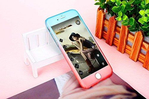 iPhone 5S Coque, iPhone 5Coque, iPhone SE Coque, Yoota fin coloré Coque [protection d'écran en verre trempé] [] PC rigide Translucide anti-rayures Coque de protection intégrale 360 Bleu/rouge
