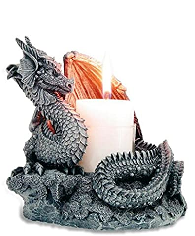 statuettedeco - Bougeoir statuette dragon ailes ouvertes