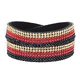 Morella Damen Armband Deutschland Fan EM WM Glitzerarmband Wickelarmband schwarz rot gold 38 cm