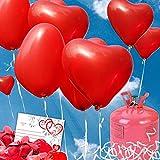 35 Helium Herzluftballons Hochzeit rot - Komplettset aus Roten Herz Heliumballons, Helium Einwegflasche, Ballonkarten und Ballonschnur zum Luftballons Steigen Lassen zur Hochzeit