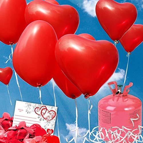(35 Helium Herzluftballons Hochzeit rot - Komplettset aus Roten Herz Heliumballons, Helium Einwegflasche, Ballonkarten und Ballonschnur zum Luftballons Steigen Lassen zur Hochzeit)