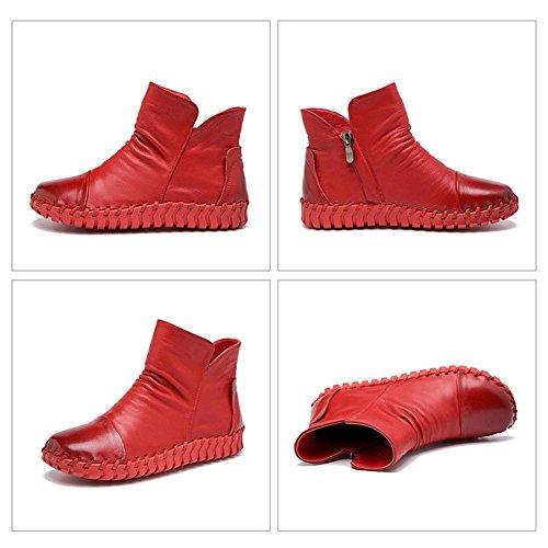 Bottes Femme Cousu À La Main En Cuir Rétro En Peluche Épaisse Courte Avec Fermeture À Glissière Talon Plat Chaussures Décontractées Chaudes, Camel-37 Red-41