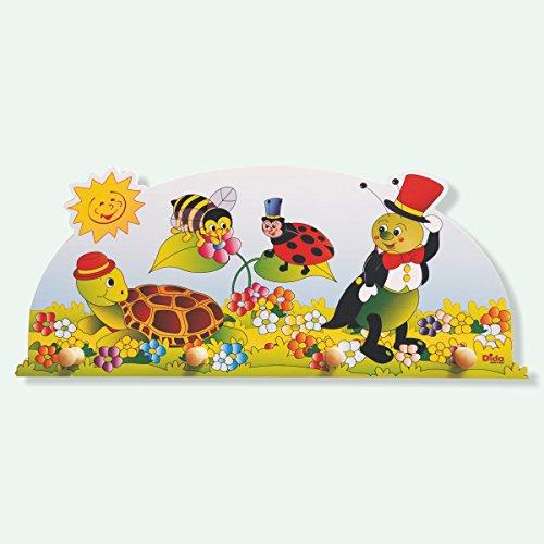 Preisvergleich Produktbild Dida - Wandgarderobe für Kinder aus Holz,  dekoriert mit kleinen Tieren für das Kinderschlafzimmer