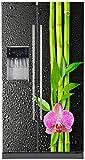 Stickersnews - Sticker frigo américain Orchidée bambou Dimensions - 100x180cm, Déclinaisons: - Fond transparent