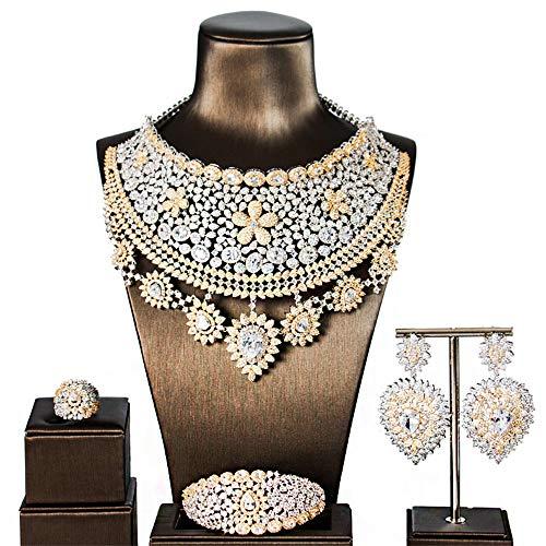 MKHDD Luxus Breite Große Blume Halskette Ohrring Dubai Schmuck Set Frauen Zirkonia Engagement Schmuck 4 stücke