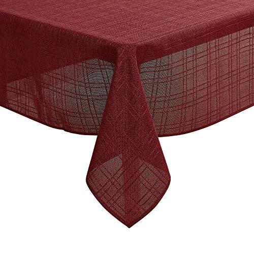 Deconovo Leinenoptik Lotuseffekt Tischdecke Wasserabweisend Tischwäsche 140x200 cm Rot