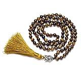 CrystalTears 108 Perles Bracelet Multi Tour/Mala Tibétain Tête de Bouddha/Grain de...