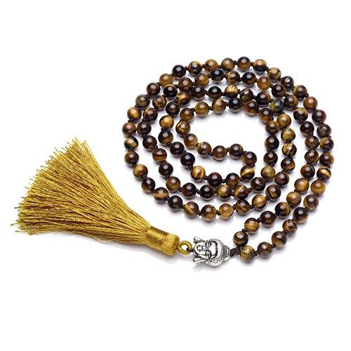 CrystalTears 108 Perles Bracelet Multi Tour/Mala Tibétain Tête de Bouddha/Grain de Chapelet/Collier Long Bouddhiste en Energie Pierre avec Franges Homme Femme(Oeil de Tigre Jaune)