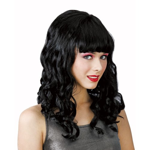 Katy Perry Pop Schwarze Locken Perücke Verkleidung Party Halloween (Perry Perücke Katy)