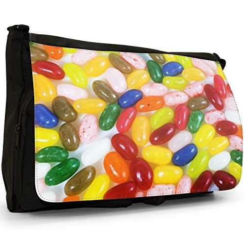 Fancy A Bag Borsa Messenger nero Jelly Fruit Tot Sweets Candy Multi Flavoured Jelly Beans Red, Green, Pink, Blue