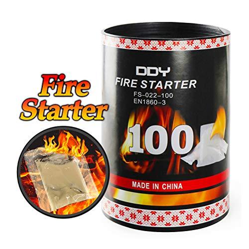 MIGI WOLF Feuerstarter (24 Streifen) Natürliche sichere Würfel Blocks Feueranzünder für Kamin, Lagerfeuer, Holzofen, Feuerschale, Holzkohlegrill, Grill-Räucher, Grill, 2 Stück weiß