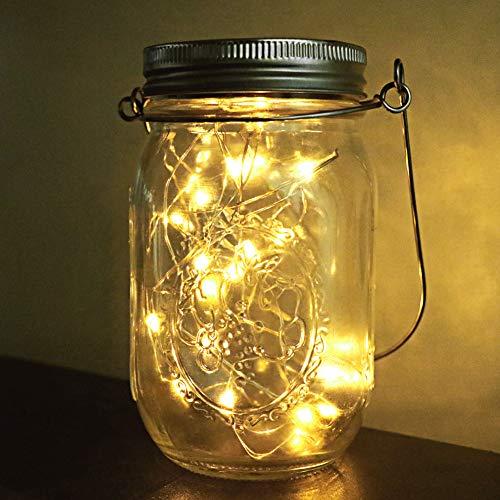 Solar Mason Jar Licht, 1 Stück Led Solarleuchten Garten Jar Fee Licht Wasserdichte Glasgläser Garten Hängeleuchten, LED Weihnachtsbeleuchtung Lichterkette, LED String Licht für für Zuhause Party Garten Hochzeit (Warmweiß) [Energieklasse A+]