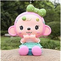 Preisvergleich für Yudanwin Mini Sparen Geld Bank Crown Monkey Piggy Bank bruchsicher Harz Ornamente Geburtstagsgeschenk (Girl Monkey)