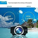 Video Beamer, Artlii Heimkino Mini Projektor HD Handy 1600 Lumen LCD Garten Party Unterstützung 1080P für TV PC Laptop Kopfhörer iPhone Macbook iPad Filme Ps4 Video Spiele - 5