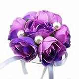 Doitsa 2pcs Handgelenk Blume Hochzeit Braut Brautjungfer Handgelenk Perle Schaum Hand Blume Corsage Hochzeits Abschlussball Requisiten (Lila)