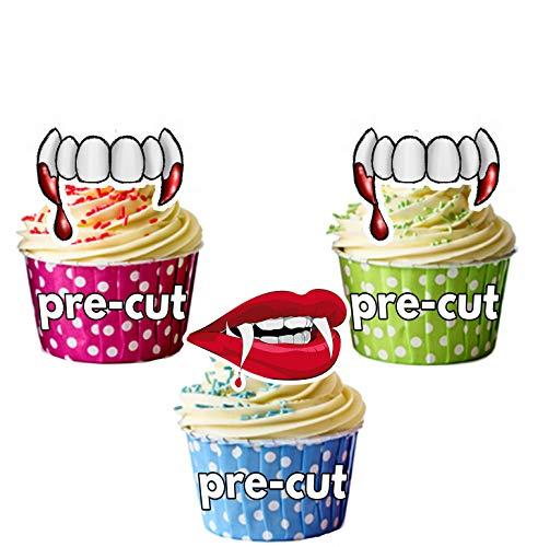 re Dents lèvres de carte en Papier comestible prédécoupé pour décorations de gâteau avec support de fixation ()