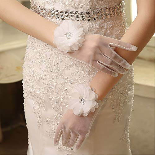Yzibei Elegantes Brautpartyhandschuhkostüm Bridal Gloves White Lace bezieht Sich auf das Raster Transparent Flower Gloves Wedding Ceremony -