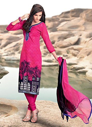 Fashionista Adorning Printed Cotton Jacquard Churidar Suit Size :34 Color : Magenta