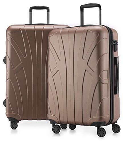 Suitline - 2er Koffer-Set Trolley-Set Rollkoffer Hartschalen-Koffer Reisekoffer, TSA, 66 cm, 100% ABS, Matt, Gold