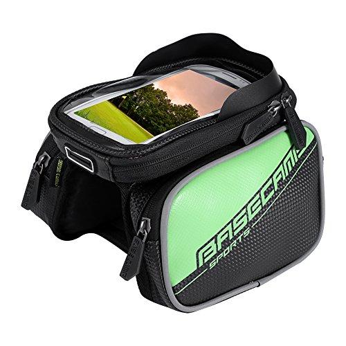 """Fahrradtasche Fahrrad Rahmentasche, Frarradschnalletasche Farhradlenkertasche mit 3 Taschen für Mountain Bike, Fahrrad Handy Tasche mit klaren PVC-Schirm passend bis zu 6"""" Bildschirm, 18*12.5*4cm Grün"""
