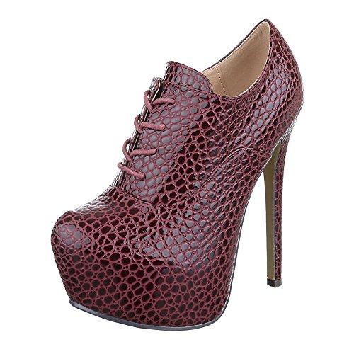 Ital-design Stivaletti Donna Scarpe Chelsea Stivali Penny / Tacco A Spillo Tacco Alto Lacci Stivaletti Rosso Vino