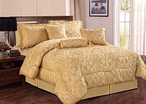 Bettdecken Bettdecke Bettwäsche Set 7-teilig Set jacquard Bett mit passender Schürze Blatt & Kissen (König, Ruby Gold) -
