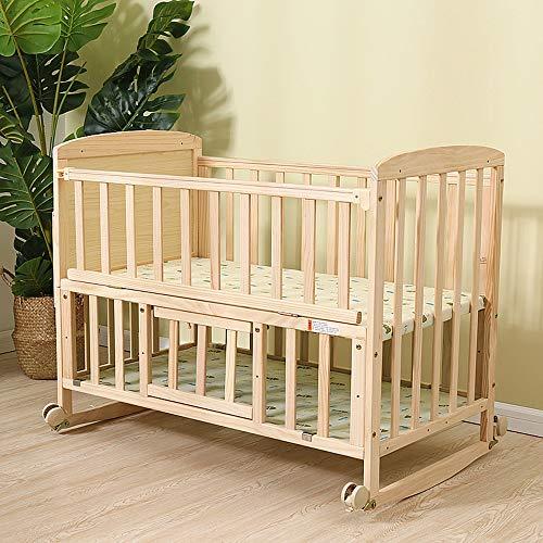 BCB Massivholzkrippe, Babybetten Kinderbetten mit Moskitonetz,Etagenbett Verwandelt Sich in einen Schreibtisch Geeignet für 0-3 Jahre altes Baby (Babybetten Etagenbetten)