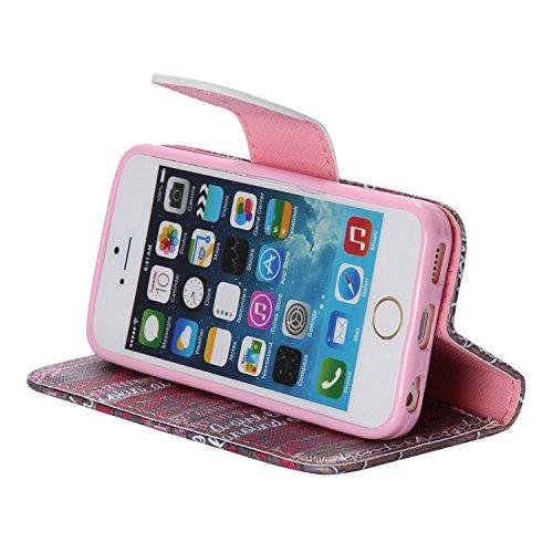 PU Cuir Coque Strass Case Etui Coque étui de portefeuille protection Coque Case Cas Cuir Swag Pour Apple iPhone 5 / 5s / SE +Bouchons de poussière (11LS) 5