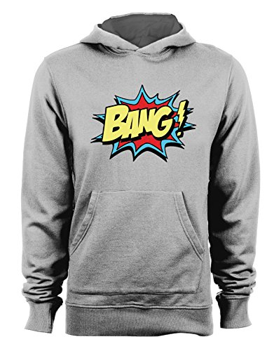 Felpa con cappuccio Bang - fumetti- cartoon- - Tutte le taglie Grigio