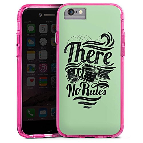 Apple iPhone 6 Plus Bumper Hülle Bumper Case Glitzer Hülle Rules Statements Spruch Bumper Case transparent pink