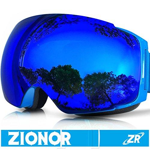 ZIONOR Occhiali da sci, Lagopus X4 Snowboard Maschera da sci con Magnete Cambio Rapido Sistema di Lenti Sferica Wide View Anti Nebbia Protezione UV400 Occhiali per Adulti e Adolescenti