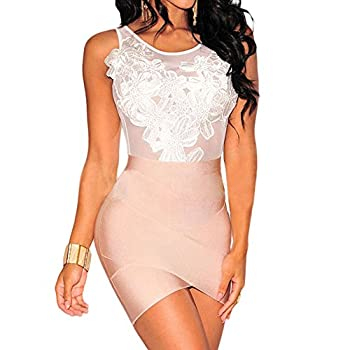 Uranus Women See Through Floral Embroidered Top Sheer Mesh Bodysuit 2
