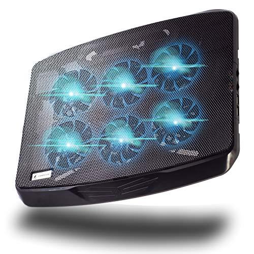 ⭐ ShadeFire® - (nouveau modèle 2019) Refroidisseur Ordinateur Portable Gamer Modèle CryoX6 - Puissance Extrême avec 6 Ventilateurs Peu Bruyant - Jusqu'à 17 pouces