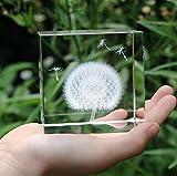 Berry Präsident ® Creative 3d-Lasergravur-Kristall Cube Briefbeschwerer Pusteblume Geburtstag Geschenk 5.99 cm