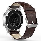 MoKo Bracelet de Gear S3 Watch en Premium Cuir Véritable Crocodile Grain Replacement Band pour Samsung Gear S3 Frontier/ S3 Classic / Moto 360 2nd Gen 46mm, Marron (Pas compatible avec S2,S2 Classic,Fit2)