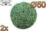 2x Buchs, Echtbaum-Optik, große Buchskugel Buxbaum Ø 50 cm 500 mm grün dunkelgrün, fertig montiert, auf Wunsch mit Solarbeleuchtung SOLAR LICHT BELEUCHTUNG (Zubehör) , ohne Terracotta Topf Plastik und stabilem Fuß (Zement) Kunstpflanzen stabile Dekobäumchen künstliche Bäume Bäumchen Kugel Buxbaumkugel + Solarlicht LED Lampe 2 Lampen Lichterbaum Kunstblume Außen- und Innendekoration Balkonsichtschutz Balkon Pflanzen Sichtschutz