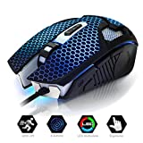 EMPIRE Gaming Maus Gamer M300 mit 6 Tasten retro-eclairage LED Farben Resolution 3200 DPI Cable Nylon Geflecht USB Komfortable ergonomisch beidhändig