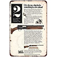 qidushop Browning No. 2 Auto 5 Gun AD Vintage Reproducción Metal Sign for Home Wall Art Decor Post Placa para Mujeres Hombres 30 x 45 cm
